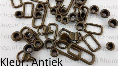 Draadring rechthoek voor 16 mm riem  100 stuks Antiek