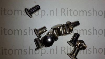 Holniet 6.3 lang kop Ø 9 mm  Nikkel /Zilver