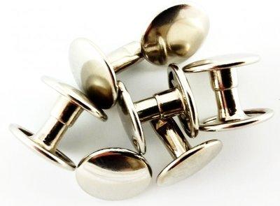 Dubbele holnieten, 2 bolle koppen Ø 7 mm, zilver, 1.000 sets